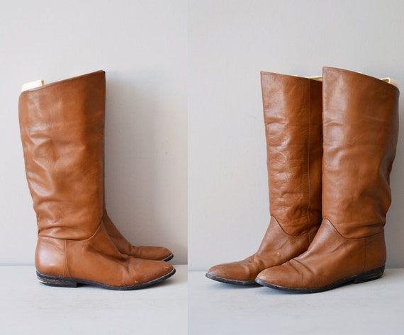 leather riding boots / brown leather boots / tall boots /