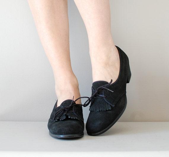 1960s oxfords / 60s black kilitie oxfords / Noir Kilitie shoes