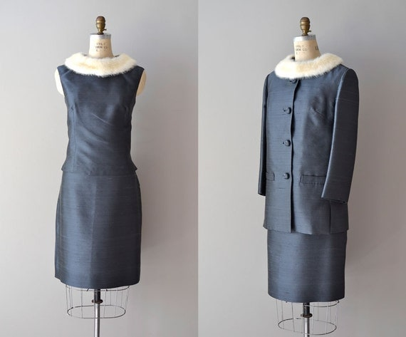 60s suit / fur trimmed dress set / 1960s dress / High Society