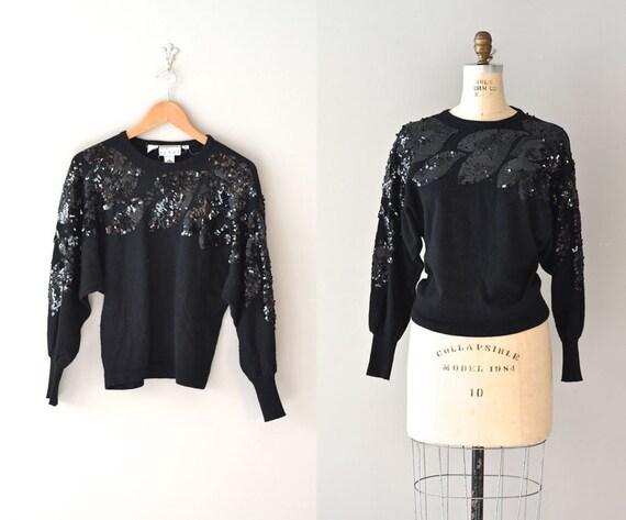 sequin sweater / 80s black sequin top