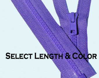 """Select Length and Color~YKK Vislon 5mm Molded Plastic Chunky Teeth SEPARATING Sports Zippers~14"""" to 36"""""""
