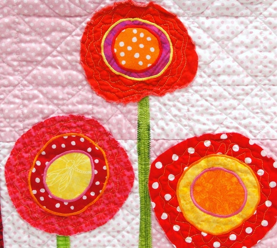 poppy quilt-  wall art quilt in pink, red, orange and yellow on pink background - Ready to ship