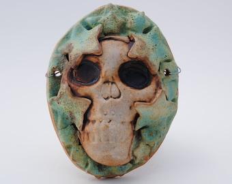 ceramic mask sculpture art clay face skeleton home decor wall skull mask