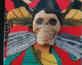 mixed media art painting skull assemblage halloween wall art collage halloween art