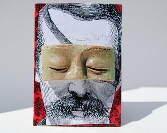 ACEO art card mixed media miniature art assemblage ATC tiny art collage