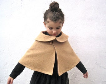 Camel Girls Boiled Wool Cape with Peter Pan Collar - Classic Brown Capelet  Size 12 months 1T to 3T - Wedding Party Fashion Shrug