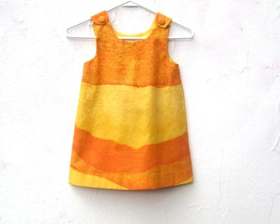 In Etsy's 2013 Spring Lookbook - The Stella Dress - Girls Dress in Marimekko Ombre Orange Gold - Toddler Girls Fashion (READY TO SHIP 3T)
