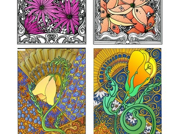 Katzinn Notecards - Flower Collection Number 2 - Acid Free - Suitable for framing