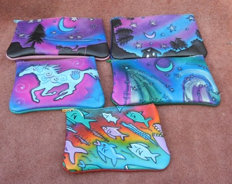GIFT DEAL,Handmade Leather/ Zipper Coin Change Purse, Bag, Tote.  Cosmic shooting stars, Airbrushed Hand Painted.