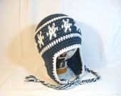 Adult Size Snowflake Peruvian Style Earflap Crochet Hat - Antique Teal
