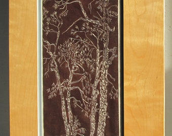 Pines, limited edtion, hand printed, hand signed in pencil by the artist, linocut, framed in birch