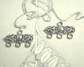 Floral connector Pewter finding antique silver for beading a 3 strand bracelet necklace earring (6)