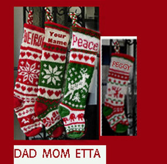 4 Hand knit Christmas stocking,  Personalized, made of pure wool yarn,  fully lined