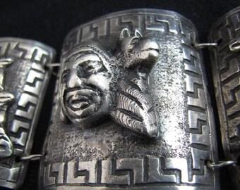 Heavy Vintage Peruvian Bracelet with  3D Figures & Llamas