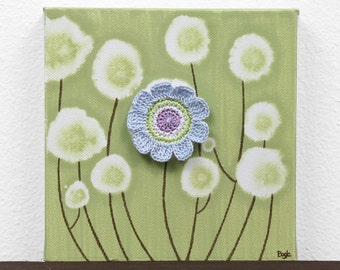 Gift Art for Girl - Blue and Green Floral Canvas Painting - Mini 6x6