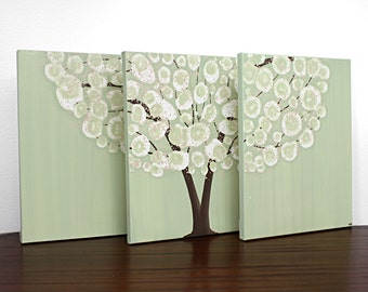 Canvas Art Acrylic Painting - Tree Original Triptych Green - Medium 35x14