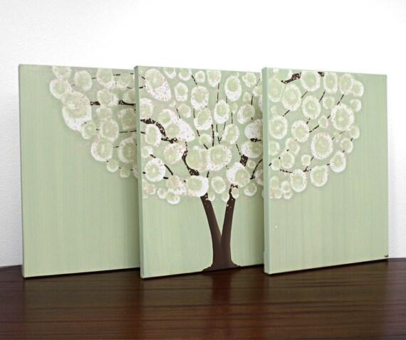 Canvas Art Acrylic Painting - Tree Original Triptych Green - Medium 35x14
