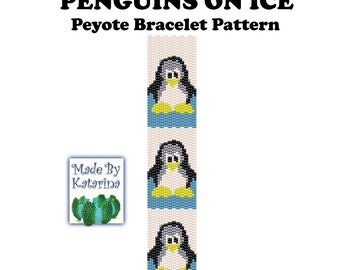 Peyote Pattern - Penguins On Ice - INSTANT DOWNLOAD PDF - Peyote Stitch Bracelet Pattern - Two Drop Even Peyote Stitch - Peyote Penguin