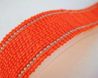 Peyote Bracelet / Beaded Bracelet in Orange and Grey  / Seed Bead Beaded Bracelet / Fire Bracelet / Beadwoven Bracelet / Beadwork
