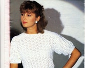 Vintage Knitting Pattern for Lacy Sweater Original 1980s