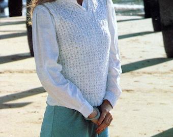 Vintage Knitting Pattern for Slipover Original 1980s