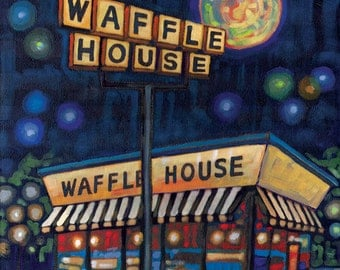 Midnight Waffle House 8x10 Art Print by Anastasia Mak