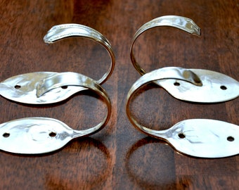 Silver Spoon and Fork Curtain Hooks set of 8 Mismatched Patterns