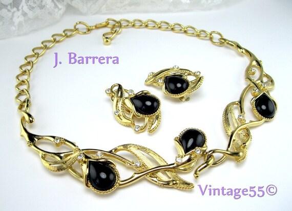 Necklace Earrings Rhinestone Gold tone Granada by Barrera