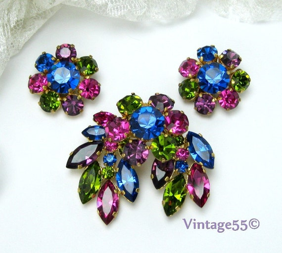 Vintage Brooch Earrings Austria clip on