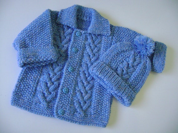 Hand Knitted Sweater and Hat Set  3 to 6 Months