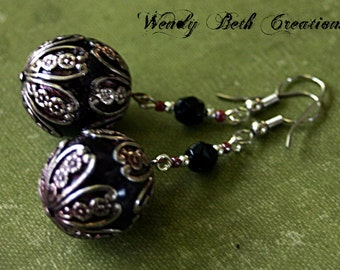 Filigree Orb Steampunk Earrings - Floral, Brown, Silver, Black, Glass Bead, One of a Kind, Belly Dance, Elegant