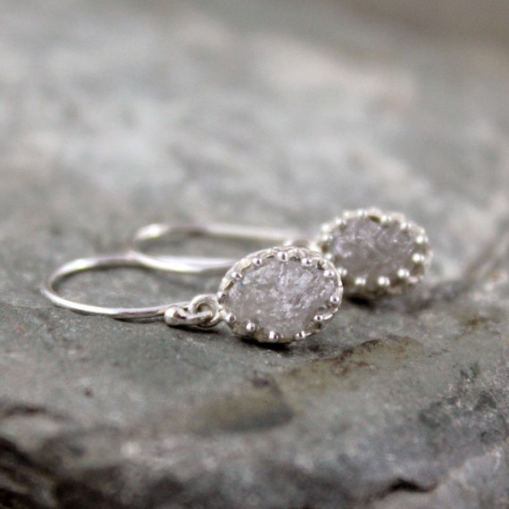 Natural Rough Diamond and Sterling Silver Dangle Earrings - Antique Look - Rustic Oval Shape - Handmade and Designed by A Second Time