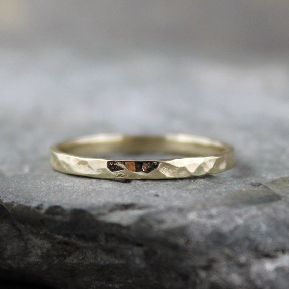 10K Gold Wedding Band  - Hammered Finish - Ladies or Men's Band - 2mm Wide
