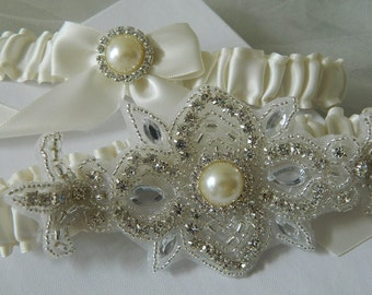 Wedding Garter,Bridal Garter Set - Pearl  Crystal Garter
