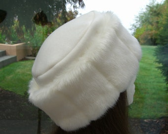 FAUX FUR Adult HAT with luscious creamy white mink fur, Creamy white mink fur hat, Women's Fur Hat