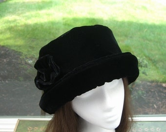 Rich Black VELVET Hat with velvet rose, Women's Velvet Hat, Winter Velvet Hat, Black Velvet Hat