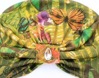 Turban Hat - Women's Organic Cotton Headwrap - Tropical Butterfly Print Hair Wrap - Wearable Art