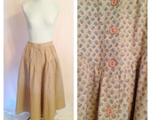 SALE- Vintage Tan Long Cotton Maxi Skirt. Pink. Floral Skirt. Country Chic. Beige. Brown. Size Small. Designer Fashion. Fall. Button Up.
