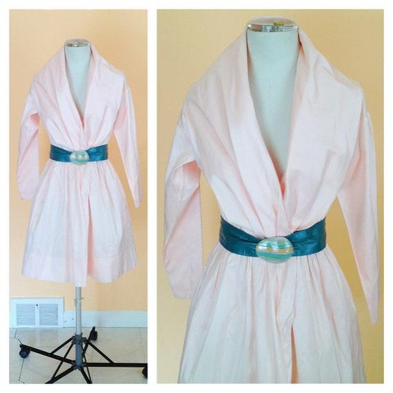 Sale-Vintage Catherine Regehr Pale Pink Silk Dress. Wedding. Bridal. Designer. 1980s. Size X-Small. High Fashion. Prom. Formal. Long Sleeve.