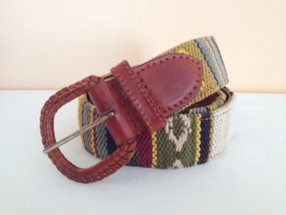 Vintage Stitched Cotton Belt. Size Medium. Tan. Brown. Fall. Autumn. Boho. Hippie. Accessory. 1980s. Tribal. Stitched Pattern. Vintage Belt.
