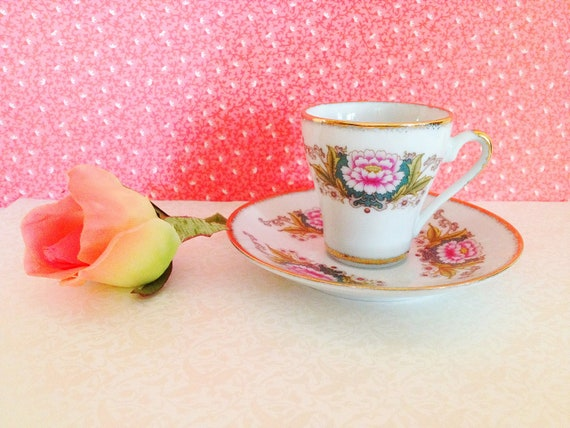 Vintage Miniature Teacup & Saucer. Espresso. Floral. Dainty. Small. Green Pink. Alice in Wonderland. Serving. Home Decor. Shabby Chic.