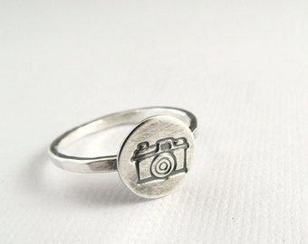 Camera Ring, Sterling Silver Ring, Stacking Ring