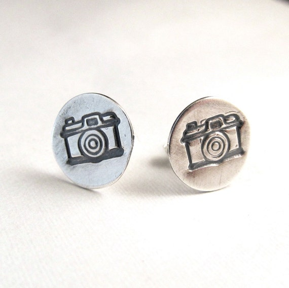 Camera Earrings in sterling silver, photographer gift