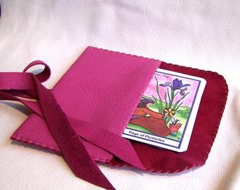 Leather Tarot Bag....Pink....Smooth