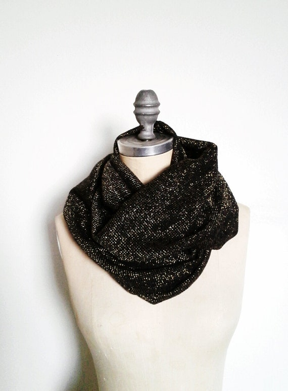The Infinity Scarf, in Black and Gold Sweater Knit Scarf