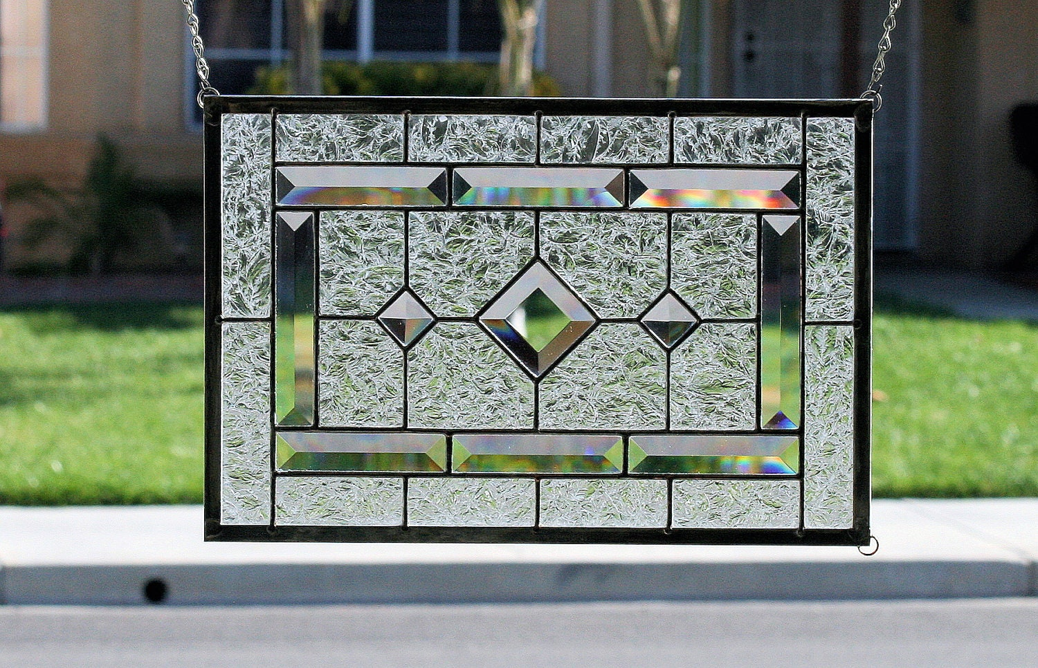 Diamonds Clear Stained Glass Window Panel With Faceted