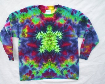 Childrens-Rainbow Turtle Tie Dye Long Sleeve Size Youth Large