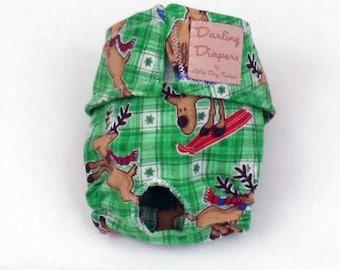 XS Christmas Dog Diapers Green Plaid Reindeer