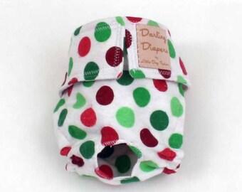 Dog diaper, Reusable dog diaper, Christmas Dog Diapers, Red Green Polka Dots
