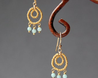 Beaded Chandelier Earrings, Matte Gold Seed Beads and Blue Amazonite